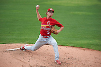 Palm Beach Cardinals pitcher Luke Weaver (5) delivers a pitch during the first game of a doubleheader against the Dunedin Blue Jays on July 31, 2015 at Florida Auto Exchange Stadium in Dunedin, Florida.  Dunedin defeated Palm Beach 7-0.  (Mike Janes/Four Seam Images)