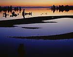 Mono Basin Scenic Area, CA<br /> Dawn sky colors reflecting among the sandbar patterns near Mono Lake's South Tufa Area