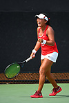 WINSTON SALEM, NC - MAY 22: Janie Shin of the Stanford Cardinal celebrates her victory against the Vanderbilt Commodores during the Division I Women's Tennis Championship held at the Wake Forest Tennis Center on the Wake Forest University campus on May 22, 2018 in Winston Salem, North Carolina. Stanford defeated Vanderbilt 4-3 for the national title. (Photo by Jamie Schwaberow/NCAA Photos via Getty Images)