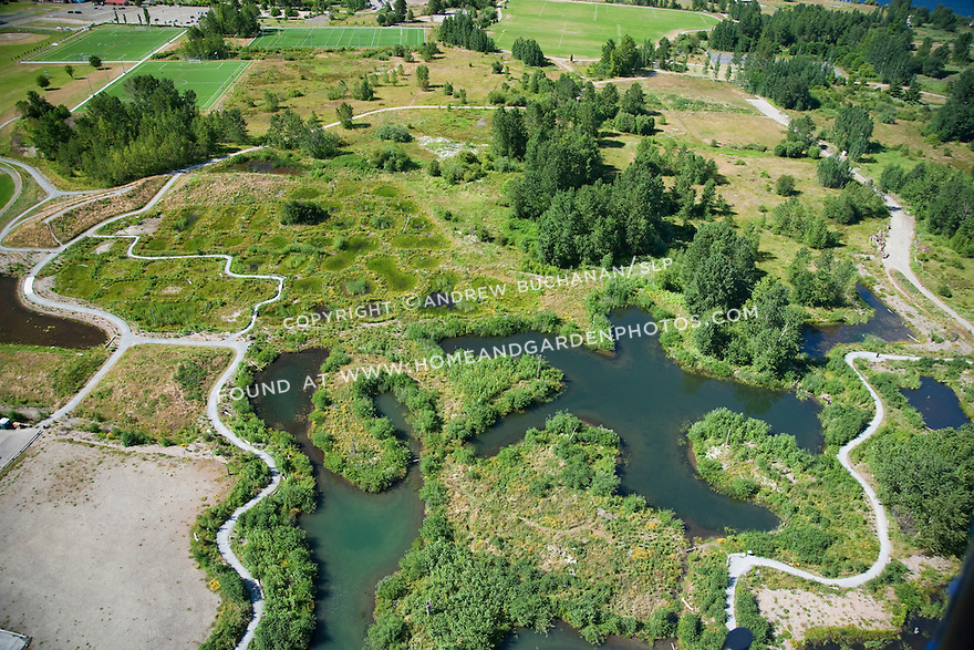 aerial photo of wetlands restoration at Magnuson Park, on the site of the former Sand Point Naval Air Station; Seattle, WA; July, 2011
