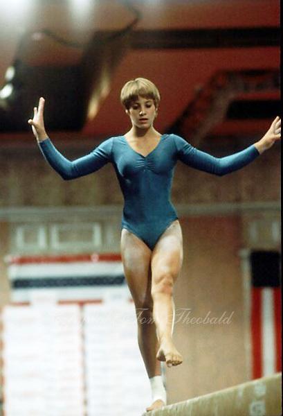 August 15, 1981; Reno, Nevada, USA; Artistic gymnast Beth Pope of USA performs on balance beam at USGF Single Elimination tournament at Reno.  Copyright 1981 Tom Theobald.