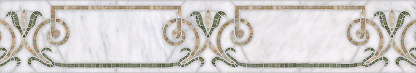 "7 1/8"" Winchester border, a waterjet and hand-cut stone mosaic, shown in polished  Calacatta, Botticino, and Verde Luna."