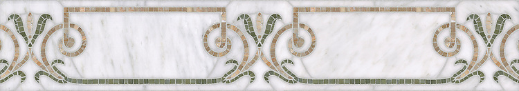 """7 1/4"""" Winchester border, a waterjet and hand-cut mosaic shown in polished Calacatta, Botticino, and Verde Luna by New Ravenna."""