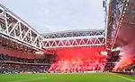 Stockholm 2015-05-25 Fotboll Allsvenskan Djurg&aring;rdens IF - AIK :  <br /> Djurg&aring;rdens supportrar br&auml;nner bengaler inf&ouml;r den andra halvleken under matchen mellan Djurg&aring;rdens IF och AIK <br /> (Foto: Kenta J&ouml;nsson) Nyckelord:  Fotboll Allsvenskan Djurg&aring;rden DIF Tele2 Arena AIK Gnaget supporter fans publik supporters bengal bengaler r&ouml;k