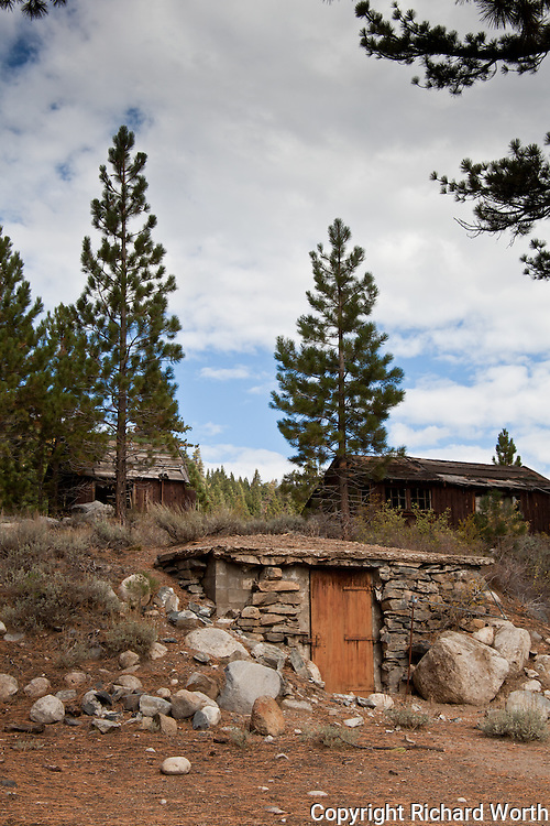 Abandoned buildings along Highway 108 in Toiyabe National Forest.