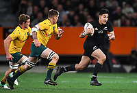 Rieko Ioane on attack.<br /> Bledisloe Cup and Rugby Championship test match. New Zealand All Blacks v Australian Wallabies at Forsyth Barr Stadium, Dunedin, New Zealand. Saturday 26 August 2017. © Copyright photo: Andrew Cornaga / www.Photosport.nz