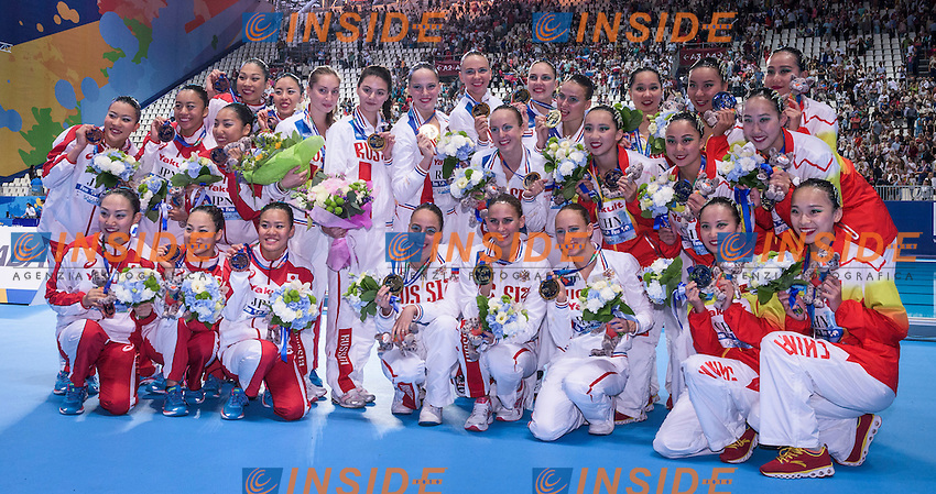 Podium<br /> Silver Medal China<br /> Gold Medal Russia<br /> Bronze Medal<br /> Team Free Final<br /> Day8 31/07/2015<br /> XVI FINA World Championships Aquatics<br /> Synchro<br /> Kazan Tatarstan RUS July 24 - Aug. 9 2015 <br /> Photo Giorgio Scala/Deepbluemedia/Insidefoto