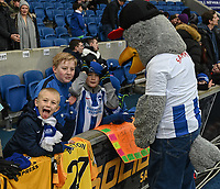 Young Brighton fans with Gully the Seagull<br /> <br /> Photographer David Horton/CameraSport<br /> <br /> Emirates FA Cup Fourth Round - Brighton and Hove Albion v West Bromwich Albion - Saturday 26th January 2019 - The Amex Stadium - Brighton<br />  <br /> World Copyright © 2019 CameraSport. All rights reserved. 43 Linden Ave. Countesthorpe. Leicester. England. LE8 5PG - Tel: +44 (0) 116 277 4147 - admin@camerasport.com - www.camerasport.com