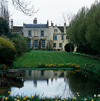 The rear wing of the house, designed by Anthony Keck and added in the 1790s, has commanding views of one of the lawns and pond