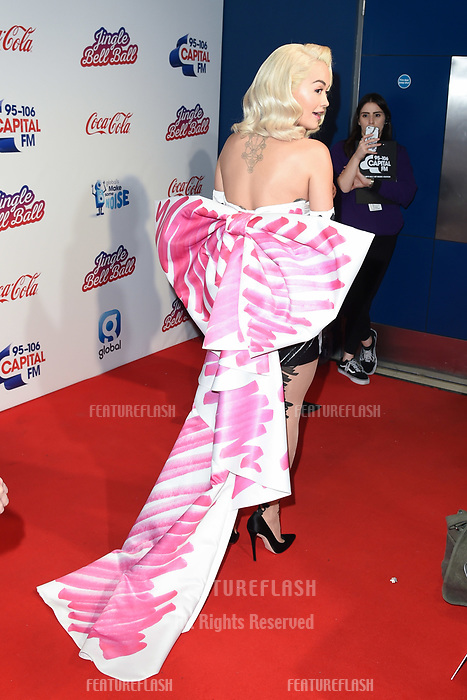 LONDON, UK. December 08, 2018: Rita Ora at Capital&rsquo;s Jingle Bell Ball 2018 with Coca-Cola, O2 Arena, London.<br /> Picture: Steve Vas/Featureflash