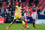 Lucas Hernandez (R) of Atletico de Madrid fights for the ball with Michael Olunga Ogada of Girona FC during the La Liga 2017-18 match between Atletico de Madrid and Girona FC at Wanda Metropolitano on 20 January 2018 in Madrid, Spain. Photo by Diego Gonzalez / Power Sport Images