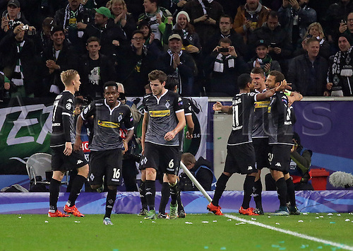 03.11.2015. Moenchengladbach, Germany, UEFA Champions League football group stages. Borussia Moenchangladbach versus Juventus.  Celebrations for the goal for 1:0 from Fabian Johnson (Borussia Moenchengladbach)
