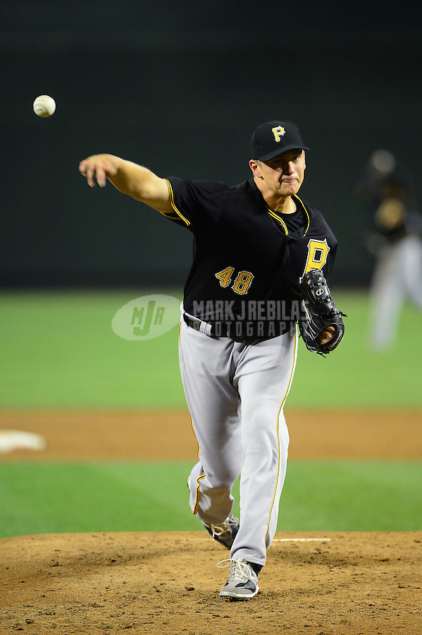 Apr. 17, 2012; Phoenix, AZ, USA; Pittsburgh Pirates pitcher Jared Hughes throws in the third inning against the Arizona Diamondbacks at Chase Field. Mandatory Credit: Mark J. Rebilas-