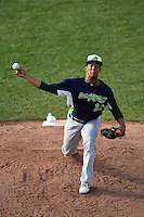 Vermont Lake Monsters pitcher Lee Sosa (13) delivers a pitch during a game against the Jamestown Jammers on July 13, 2014 at Russell Diethrick Park in Jamestown, New York.  Jamestown defeated Vermont 6-2.  (Mike Janes/Four Seam Images)