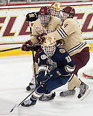 Chris Calnan (BC - 11), Adam Gilmour (BC - 14), Vince Hinostroza (ND - 13) - The Boston College Eagles defeated the visiting University of Notre Dame Fighting Irish 4-2 to tie their Hockey East quarterfinal matchup at one game each on Saturday, March 15, 2014, at Kelley Rink in Conte Forum in Chestnut Hill, Massachusetts.
