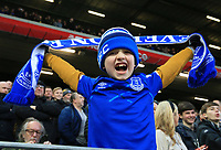 5th January 2020; Anfield, Liverpool, Merseyside, England; English FA Cup Football, Liverpool versus Everton; a young Evertionian cheers on his team - Strictly Editorial Use Only. No use with unauthorized audio, video, data, fixture lists, club/league logos or 'live' services. Online in-match use limited to 120 images, no video emulation. No use in betting, games or single club/league/player publications