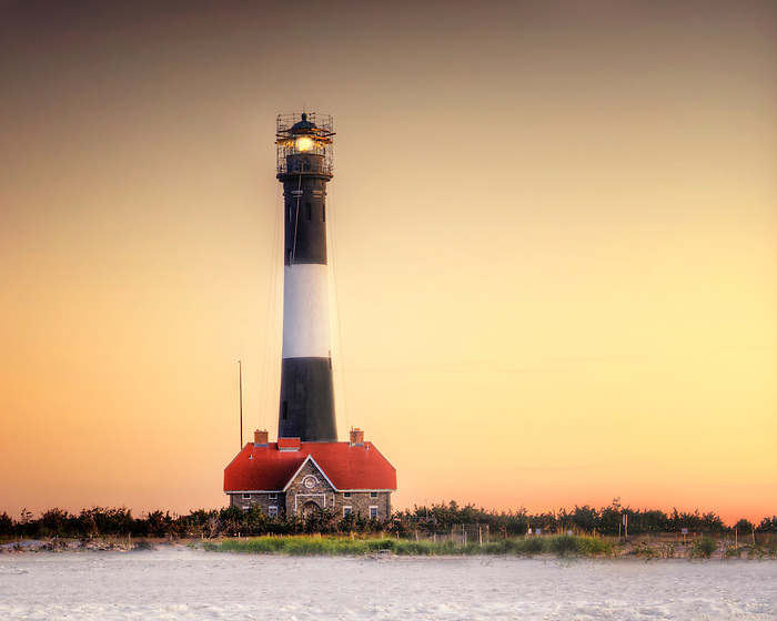 Beautiful Golden Light at Dawn at the Fire Island Lighthouse