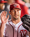 13 October 2016: Washington Nationals starting pitcher Max Scherzer returns to the dugout during Game 5 of the NLDS against the Los Angeles Dodgers at Nationals Park in Washington, DC. The Dodgers edged out the Nationals 4-3, to take Game 5 of the Series, 3 games to 2, and move on to the National League Championship Series against the Chicago Cubs. Mandatory Credit: Ed Wolfstein Photo *** RAW (NEF) Image File Available ***