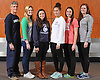 The Newsday 2015 All-Long Island girls' swimming team gathers for a group portrait at company headquarters on Thursday, December 3, 2015. Appearing are, from left: Coach John Skudin - Long Beach. Casey Gavigan - Ward Melville, Maggie Aroesty - Long Beach, Kristen Romano - Long Beach, Lauryn Johnson - Sacred Heart and Cara Treble - Massapequa.<br /> <br /> James Escher