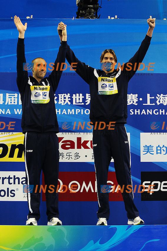 Jeremy STRAVIUS and Camille LACOURT France Gold Medal.Men's 100m Backstroke - Swimming / Nuoto.Shanghai 26/7/2011 .14th FINA World Championships.Foto Andrea Staccioli Insidefoto