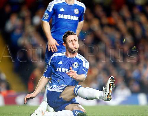 18.04.2012. Stamford Bridge, Chelsea, London. .Chelsea's Gary Cahill.during the Champions League Semi Final 1st  leg match between Chelsea and Barcelona  at Stamford Bridge, Stadium on April 18, 2012 in London, England.