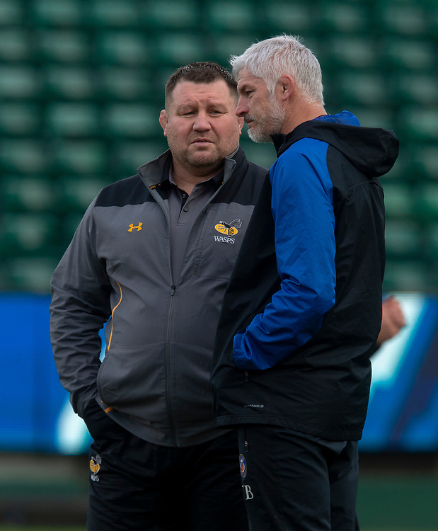 Wasps' Head Coach Dai Young talks to Bath Rugby's Head Coach Todd Blackadder<br /> <br /> Photographer Bob Bradford/CameraSport<br /> <br /> European Rugby Heineken Champions Cup Pool 1 - Bath Rugby v Wasps - Saturday 12th January 2019 - The Recreation Ground - Bath<br /> <br /> World Copyright © 2019 CameraSport. All rights reserved. 43 Linden Ave. Countesthorpe. Leicester. England. LE8 5PG - Tel: +44 (0) 116 277 4147 - admin@camerasport.com - www.camerasport.com