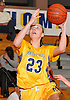 Gabriella Heimbauer #23 of Massapequa scores from beneath the hoop during a Nassau County Conference AA-I varsity girls' basketball game against Syosset at Massapequa High School on Friday, Jan. 15, 2016. Massapequa won by a score of 60-33.