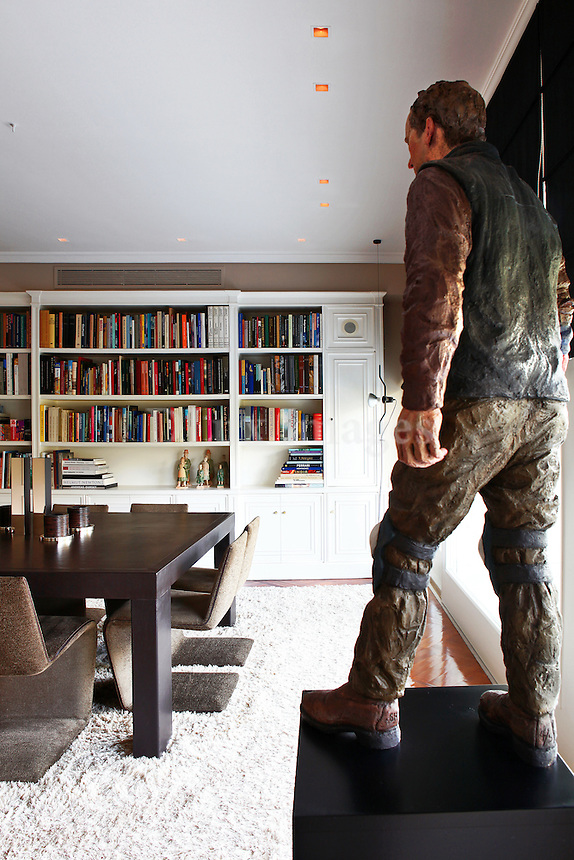 contemporary living room with bookcase