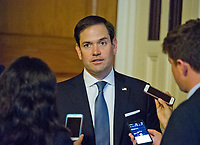 United States Senator Marco Rubio (Republican of Florida) speaks to reporters after the release of the newest GOP version of the bill to repeal and replace Obamacare in the US Capitol in Washington, DC on Thursday, July 13, 2017.<br /> Credit: Ron Sachs / CNP /MediaPunch