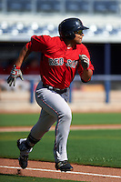 GCL Red Sox outfielder Tyler Hill (34) runs to first during the first game of a doubleheader against the GCL Rays on August 4, 2015 at Charlotte Sports Park in Port Charlotte, Florida.  GCL Red Sox defeated the GCL Rays 10-2.  (Mike Janes/Four Seam Images)