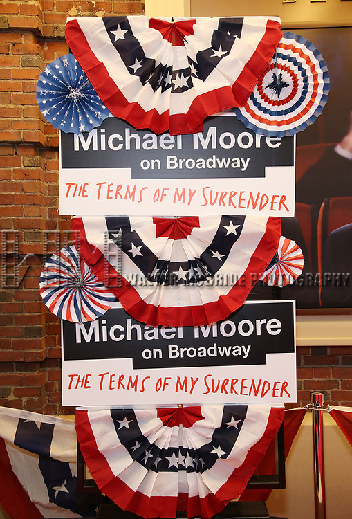 Atmosphere at the Broadway Opening Night Performance for 'Michael Moore on Broadway' at the Belasco Theatre on August 10, 2017 in New York City.