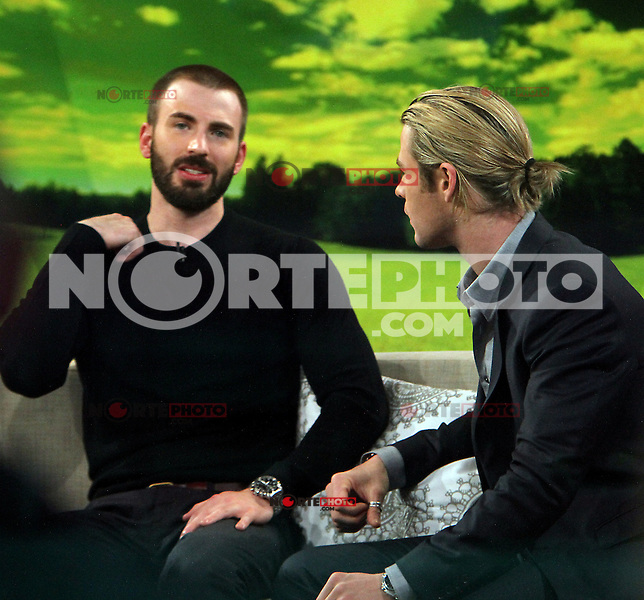April 30, 2012: Chris Evans and Chris Hemsworth at Good Morning America the talk about his new movie the Avengers in New York City. Credit: RW/MediaPunch Inc.