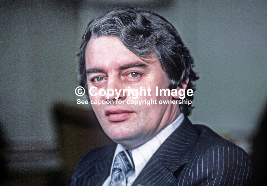 Austin Currie, chief whip, SDLP, N Ireland Parliament, 197811000273a.<br /> <br /> Copyright Image from Victor Patterson,<br /> 54 Dorchester Park, <br /> Belfast, UK, BT9 6RJ<br /> <br /> t1: +44 28 9066 1296 (from Rep of Ireland 048 9066 1296)<br /> t2: +44 28 9002 2446 (from Rep of Ireland 048 9002 2446)<br /> <br /> m: +44 7802 353836<br /> <br /> e: victorpatterson@me.com<br /> www.victorpatterson.com<br /> <br /> Please see my Terms and Conditions of Use at www.victorpatterson.com. It is IMPORTANT that you familiarise yourself with them.<br /> <br /> Images used on the Internet must be visibly watermarked i.e. &copy; Victor Patterson<br /> within the body of the image and copyright metadata must not be deleted. Images <br /> used on the Internet have a size restriction of 4kbs and will be chargeable at current<br />  NUJ rates unless agreed otherwise.<br /> <br /> This image is only available for the use of the download recipient i.e. television station, newspaper, magazine, book publisher, etc, and must not be passed on to any third <br /> party. It is also downloaded on condition that each and every usage is notified within 7 days to victorpatterson@me.com<br /> <br /> The right of Victor Patterson to be identified as the author is asserted in accordance with The Copyright Designs And Patents Act (1988). All moral rights are asserted.