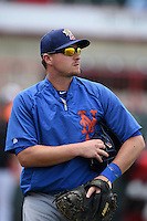 Binghamton Mets catcher Kai Gronauer (26) walks to the bullpen during a game against the Erie Seawolves on July 13, 2014 at Jerry Uht Park in Erie, Pennsylvania.  Binghamton defeated Erie 5-4.  (Mike Janes/Four Seam Images)