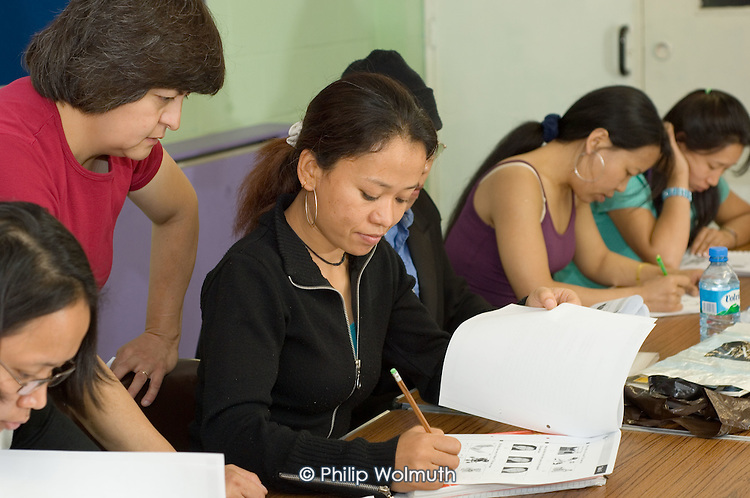 Sunday morning ESOL English class for migrant domestic workers organised by community organisation Kalayaan and run at the Venture Centre, North Kensington, by Kensington and Chelsea College. The women are from Nepal, Indonesia, Brazil and the Phillipines; some are members of the Transport and General Workers Union (TGWU).