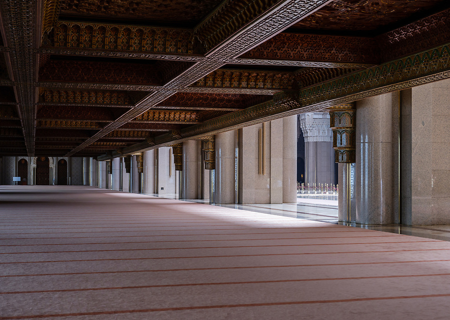 CASABLANCA, MOROCCO - CIRCA APRIL 2017: Interior view of the Mosque Hassan II in Casablanca.