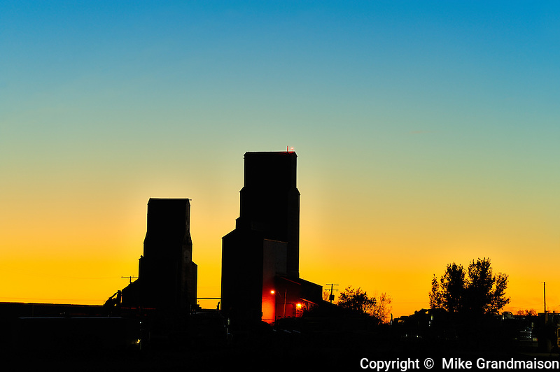 Grain elevators st sunset<br /> Tuxford<br /> Saskatchewan<br /> Canada