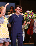 "Stephanie Torns with Joey McIntyre during his debut bows in Broadway's  ""Waitress"" at The Brooks Atkinson Theatre on February 4, 2019 in New York City."