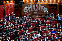 Roma, 31 Gennaio 2014<br /> Camera dei Deputati - Voto sulle pregiudiziali di costituzionalità della legge elettorale<br /> Deputati del Movimento 5 Stelle con fazzoletti al polso e pollici alzati durante il voto