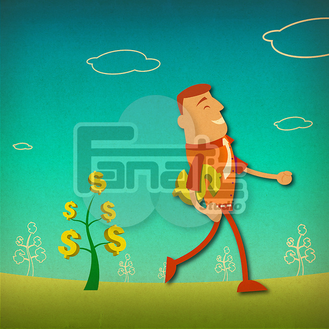 Businessman carrying a dollar sign