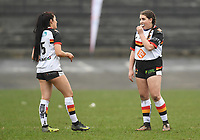 Picture by Anna Gowthorpe/SWpix.com - 15/04/2018 - Rugby League - Womens Super League - Bradford Bulls v Leeds Rhinos - Coral Windows Stadium, Bradford, England - Bradford Bulls' Haylie-May Hields and Memphis Jubb