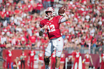 Wisconsin Badgers quarterback Alex Hornibrook (12) throws a pass during an NCAA Big Ten Conference football game against the Maryland Terrapins Saturday, October 21, 2017, in Madison, Wis. The Badgers won 38-13. (Photo by David Stluka)