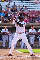Wisconsin Timber Rattlers outfielder Demi Orimoloye (6) at the plate during game one of a Midwest League doubleheader against the Kane County Cougars on June 23, 2017 at Fox Cities Stadium in Appleton, Wisconsin.  Kane County defeated Wisconsin 4-3. (Brad Krause/Four Seam Images)