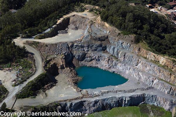 aerial photograph Dutra Rock Quarry, San Rafael, Marin County, California