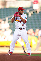 Richard Castillo (12) of the Springfield Cardinals stands on the mound during a game against the Northwest Arkansas Naturals at Hammons Field on June 14, 2012 in Springfield, Missouri. (David Welker/Four Seam Images).
