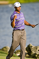March 28, 2009, Arnold Palmer Invitation.   Tiger Woods celebrates after saving a par on the 18th green during third round play  at Bay Hill Golf Club in Orlando, Florida...