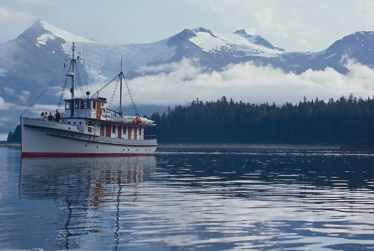 Alaska, Southeast Alaska, Passenger vessel, M/V Catalyst, Holkham Bay, entrance to Tracy Arm, Stephens Passage, These small ship cruises are by Pacific Catalyst II Inc.