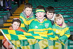 JUNIOR SUPPORT: Supporting Castlegregory at the All-Ireland Junior Club Championship semi-final at Gaelic Grounds on Sunday l-r: Ryan O'Connor, Patrick O'Donoghue, Toma?s, Dara and Ciara Butler.
