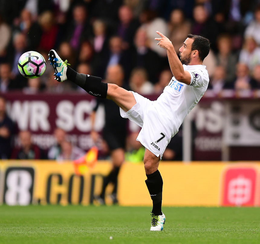 Swansea City's Leon Britton<br /> <br /> Photographer Chris Vaughan/CameraSport<br /> <br /> Football - The Premier League - Burnley v Swansea City - Saturday 13th August 2016 - Turf Moor - Burnley<br /> <br /> World Copyright &copy; 2016 CameraSport. All rights reserved. 43 Linden Ave. Countesthorpe. Leicester. England. LE8 5PG - Tel: +44 (0) 116 277 4147 - admin@camerasport.com - www.camerasport.com