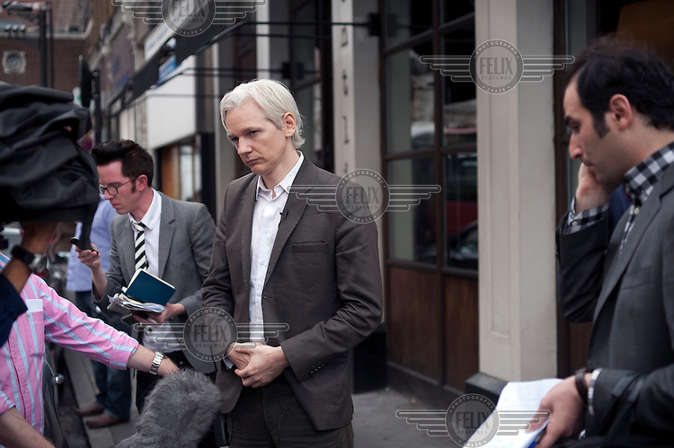 Julian Assange of Wikileaks at the Frontline Club in London.